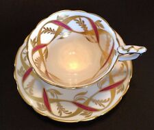 Royal Stafford Pedestal Tea Cup And Saucer - Burgundy Red And Gold Ribbons