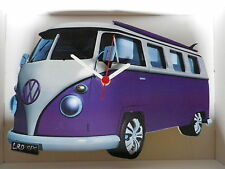Purple surf split screen design classique caravane VW Horloge murale new & boxed.