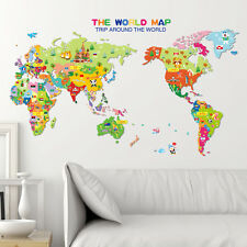 Animals Colorful World Map Kids Bedroom DIY Wall Sticker Art Decal For Nursery