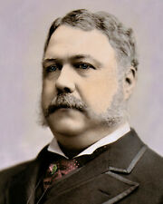 "CHESTER ALAN ARTHUR 21st US PRESIDENT FAIRFIELD VT 8x10"" HAND COLOR TINTED PHOTO"