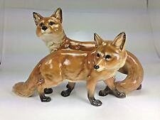 "Vingtage Large ""Two Red Foxes Grouping"" Porcelain Statue Hutschenreuther Selb"