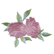 Rose Flower Leaves Embroidery Iron On Applique Patch