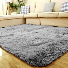 "FOOJO Long-Fluffy Terylene Rug  Living Room Tea Table Bedroom 4'7"" x 6'6"" Grey"