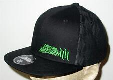NWT Hart & Huntington MIDNIGHT BLACK NEON Stitch Snapback Hat S/M SICK LID!