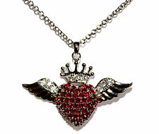 Ruby Red Cz Cubic Zirconia Love Heart Glam Angel Wing Angelic Crown Necklace