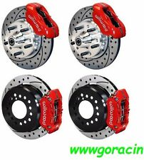 """WILWOOD DISC BRAKE KIT,1965-1969 FORD MUSTANG,11"""" Drilled Rotors, Red Calipers"""