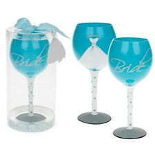 Mud Pie Gift Boxed Bride Large Wine Glass Hen Night Gift Wedding Blue Party
