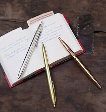 Kikkerland Set Of 3 Vintage Metal Retro Style Ballpoint Pens Black Ink Pen Gift