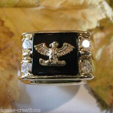 BAGUE HOMME CHEVALIERE AIGLE US PL/OR 14 K DIAMANTS cz