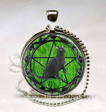 Vintage wicca cat Cabochon Glass Necklace Pendant with Ball Chain Necklace