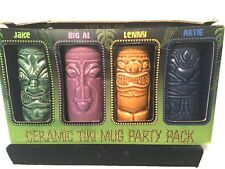 4 Ceramic Tiki Mug Party Pack! 4 Colors Tiki To Go! New In Box Luau Hawaii Bar