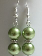 Beautiful 8mm olive green glass pearl dangle earrings crystal rhinestones.