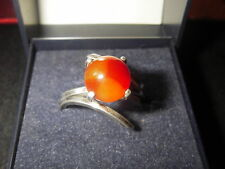 Zilver ring met agaat parel - aanpasbaar - design model of the 60s