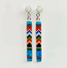 LOVELY MULTICOLOR TURQUOISE LAPIZ SPINY OPAL INLAY .925 ASILVER DANGLE EARRINGS