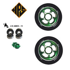 2X PRO STUNT SCOOTER GREEN VORTEX METAL CORE WHEELS 100mm 88A ABEC 9 BEARINGS 11