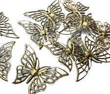 10 x Bronze tone Butterfly Filigree Stamped Embellishment Charm Decoration Craft