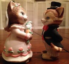 BC Srilanka Porcelain Cat Figurine Wedding Couple Bride Groom 1994