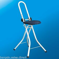 KOMET HEIGHT ADJUSTABLE ALL PURPOSE FOLDING PERCHING IRONING STOOL CHAIR