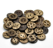 100 Bulk Mixed Coconut Shell Wood Buttons - 5/8 inch - 2 Hole - 19947