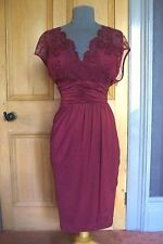 GORGEOUS ALEXON DAMSON LACE BODICED /DRAPED FITTED EVENING DRESS, SIZE 18