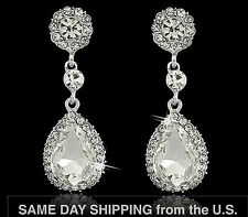 Fashion Bridal Clear Zircon Teardrop Dangle Earrings Austrian Crystal Bridesmaid