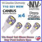 x4 ERROR FREE CANBUS T10 501 W5W 6 LED 5630 SMD CREE side light bulbs PURE White