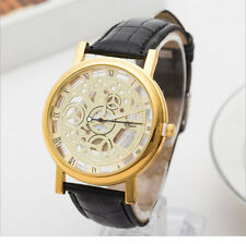 Fashion Dress Watch PU Leather Gold Plated Two-side Hollow Non Mechanical Quartz