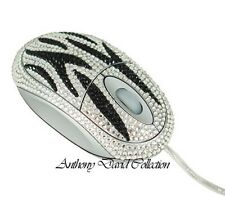 Black & Silver Zebra Crystal Optical Computer Desk Mouse with Swarovski Crystals