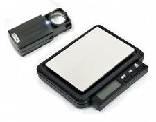 DIGITAL POCKET JEWELLERY SCALES 0.1/ 2000g + 30 x21 LED LOUPE SCRAP GOLD SILVER