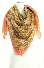 NWT Auth ECHO Design Python Snake Print Large Square Scarf - Coral Brown