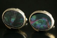 Vtg SWANK Abalone Iridescent Shell Gold Tone Cuff Links Cufflinks Art Deco