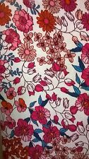 Polyester Red/pink floral print fabric vintage retro pattern