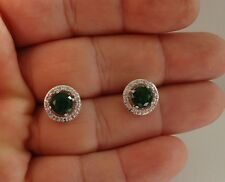 STUD EARRINGS ROUND W/ 3 CT EMERALDS & ACCENTS / 925 STERLING SILVER / 11MM