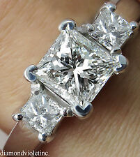 GIA 1.60CT ESTATE VINTAGE PRINCESS DIAMOND ENGAGEMENT WEDDING RING 14K WG