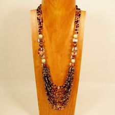 """30"""" Gold Multi Color Strand Glass Pearl Shell Chip Handmade Seed Bead Necklace"""