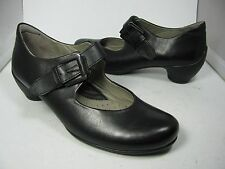 37/ 6.5-7 NEW ECCO BLACK Sculptured  heel Mary Jane buckle womens pumps shoes