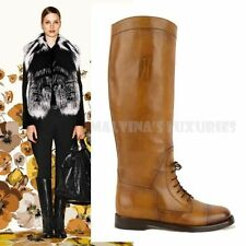 $1,150 GUCCI BOOTS BOULANGER LACED EQUESTRIAN TALL FLAT CUIR LEATHER 39.5 9.5