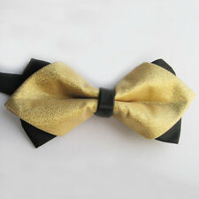 Yibei Ties Black/Gold Yellow Two Tone Bowtie Adult Adjustable Bow Tie Diamond