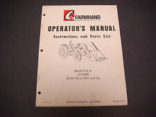 Farmhand Operator's Manual Instruction/Parts List,F20-A Loader,1600+,1PD120-1169