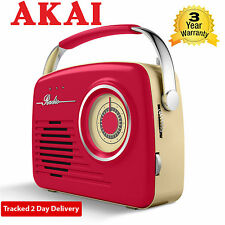 Akai A60014R AM/FM Mains or Wireless Red Retro Portable Radio