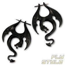 Horn Ohrringe Drache ohr hänger black dragon schwarz gothic holz drachen fantasy