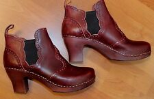 NEW Hasbeens Toffell Swedish Booties Clog Boots Shoes Cordovan 41 10 10.5 M
