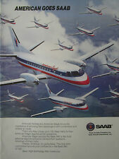 6/1989 PUB AVION SAAB 340 AIRCRAFT AMERICAN EAGLE AIRLINE ORIGINAL AD
