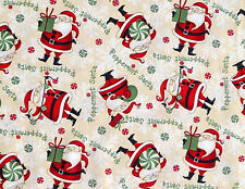 DEBBIE MUMM PEPPERMINT SANTA TOSS  CHRISTMAS  HOLIDAY 100% COTTON FABRIC YARDAGE