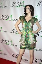 New NANETTE LEPORE 10 Medium Green Silver Swirl Peacock Silk Dress Anthropologie