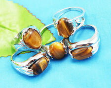 wholesale 10p Thick  Silver mixed 100% Natural Tiger's eye ring 6-10 Y180