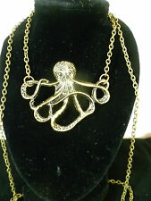 ANTIQUE LOOK BRONZE KRAKEN SEA MONSTER PENDANT NECKLACE PIRATE SHIP GAME THRONES