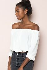Brandy Melville White cropped cotton off shoulder ruffle trimmed Maura Top NWT