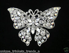 "3"" CRYSTAL WHITE BUTTERFLY BROOCH PIN~MOTHERS DAY GIFT FOR HER MOM WIFE FRIEND"