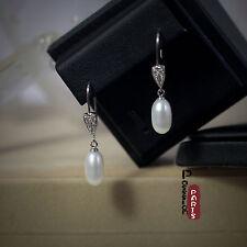Boucles d`Oreilles Perle de Culture Goutte Long Blanc Argent Massif 925 14mm G